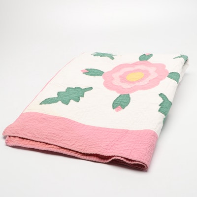 Handmade Rose of Sharon Pattern Cotton Floral Quilt, Mid to Late 20th Century