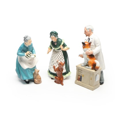 """Royal Doulton Porcelain Figurines """"The Favourite"""", """"Old Mother Hubbard"""" and More"""