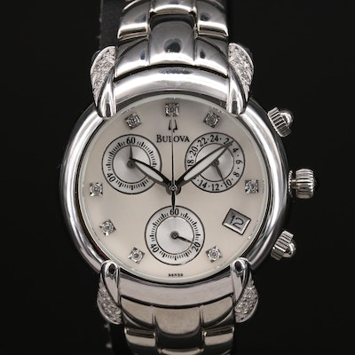 Bulova Marine Star Mother of Pearl and Diamond Stainless Steel Wristwatch
