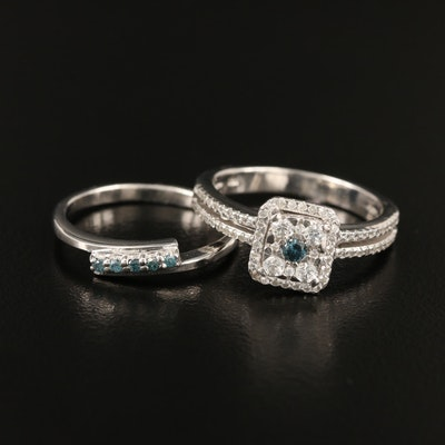 Sterling Diamond and Zircon Rings