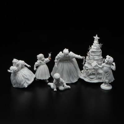 Department 56 Winter Silhouette Bisque Porcelain Figurines, Late 20th C.