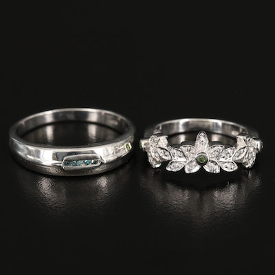 Sterling Diamond Flower and Channel Rings