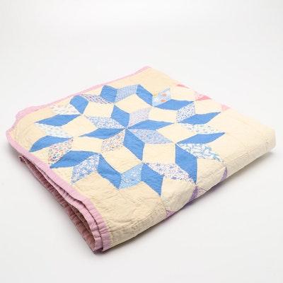 Handmade Missouri Star Cotton Patchwork Quilt, Mid to Late 20th Century