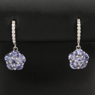 Sterling Diamond Huggie Earrings with Tanzanite Drops