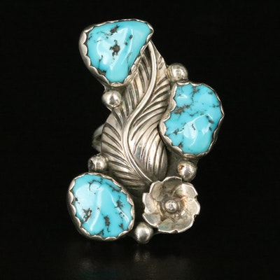 Signed Southwestern Style Turquoise Feather Ring