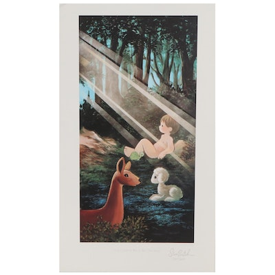 Offset Lithograph After Sam Butcher of Adam in the Forest, Late 20th Century