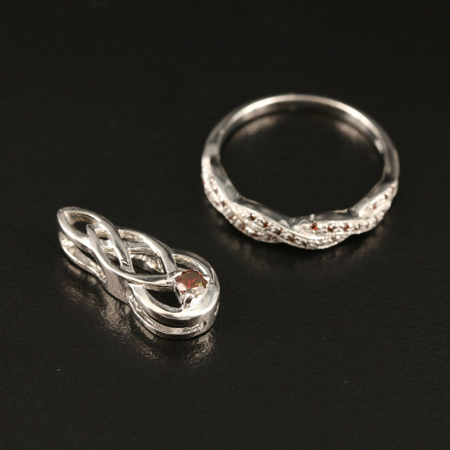 Sterling Diamond Twisted Ring and Openwork Pendant