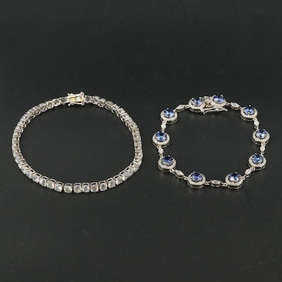 Sterling Bracelets Including White Zircon and Cubic Zirconia