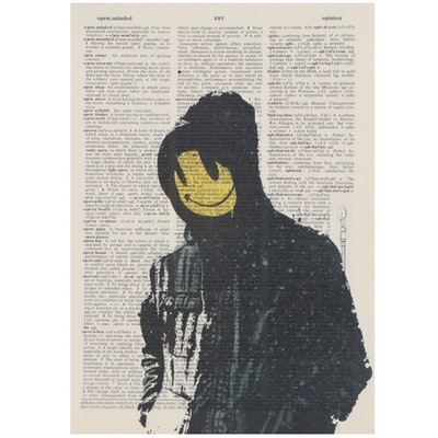 Offset Lithograph of Figure with Smiley Face After Banksy