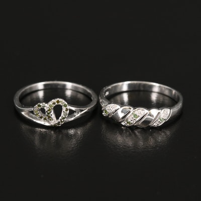 Sterling Diamond Knot and Twisted Ring