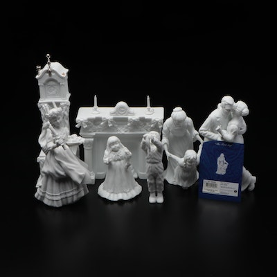 Collection of Dept. 56 White Bisque Figurines and Accessories