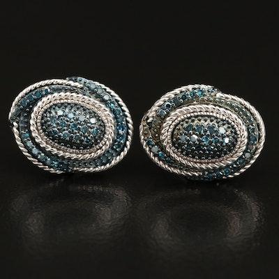 Sterling Silver Blue Diamond Oval Earrings