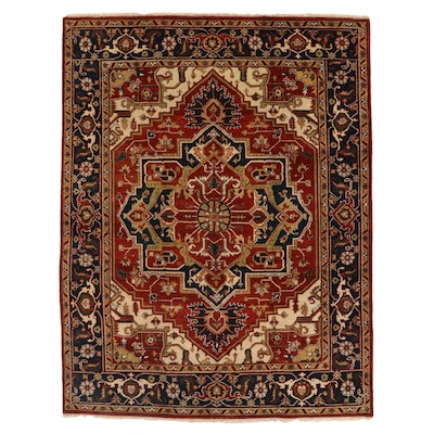 8' x 10'9 Hand-Knotted Indo-Persian Heriz Area Rug