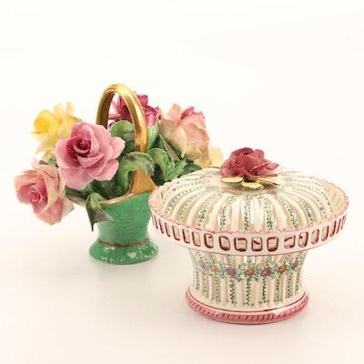 Crown Staffordshire Bone China Basket and Imperial Decor Ceramic Jar