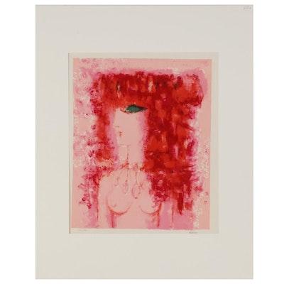 """Claudine Béréchel Color Lithograph """"Femme Aux Cheveux Rouge"""""""