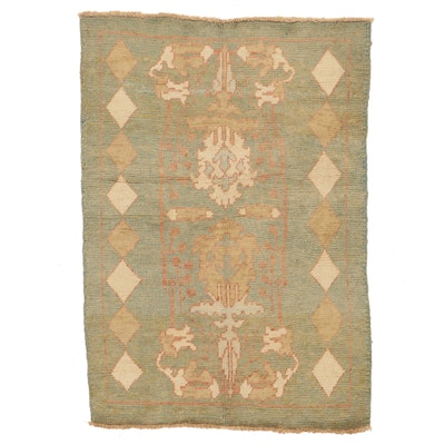 3'8 x 5'3 Hand-Knotted Turkish Oushak Area Rug
