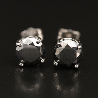 Sterling Silver 3.00 CTW Black Diamond Stud Earrings