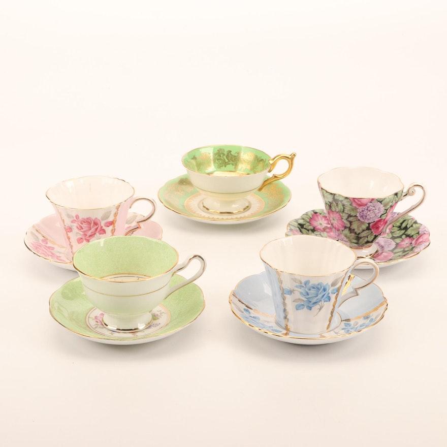 Royal Standard, Coalport, and Royal Albert Porcelain Tea Cups and Saucers