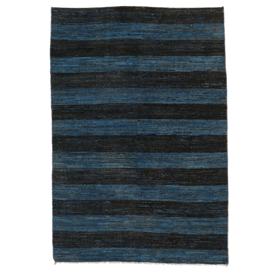 4'10 x 7'4 Hand-Knotted Afghan Gabbeh Area Rug