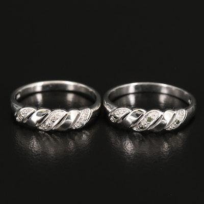 Sterling Diamond Twisted Rings