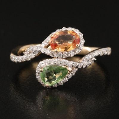 14K Sapphire and Diamond Bypass Ring