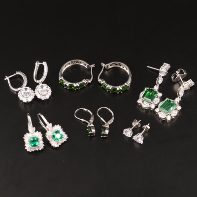 Sterling Silver Diopside and Cubic Zirconia Earrings Selection