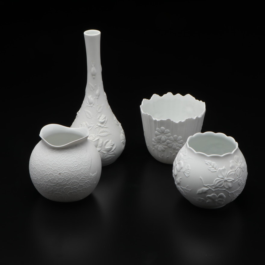 Kaiser White Porcelain Bisque Cachepot, Rose Bowls and Vase
