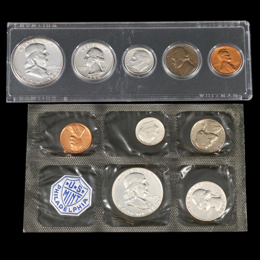 U.S. Mint Silver Proof Coin Sets, 1957 and 1958