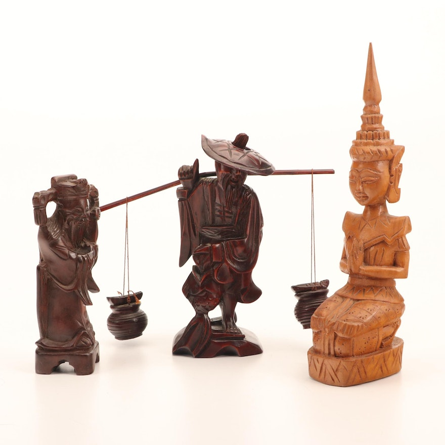 Chinese and Thai Carved Wood Angel, Water Carrier and Sage