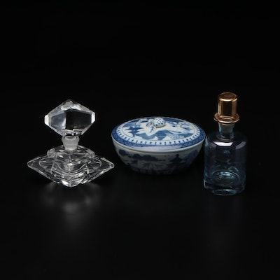 Mottahedeh Blue and White Porcelain Box and Crystal  and Glass Perfume Bottles