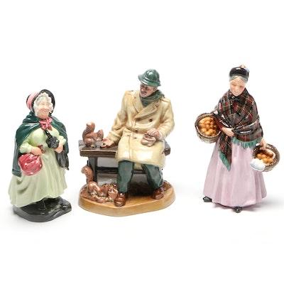 "Royal Doulton Porcelain Figurines,""Sairey Gamp"", ""Lunchtime"", ""The Orange Lady"""
