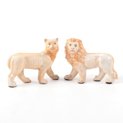 Lion and Lioness Porcelain Figurines, Early 20th Century