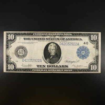 Large-Format Series of 1914 $10 Federal Reserve Note