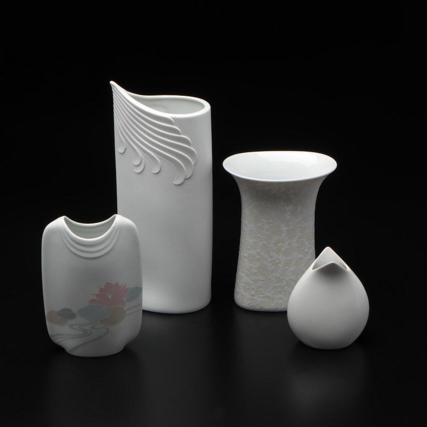 Kaiser Modernist Porcelain Bisque Vases, Late 20th Century