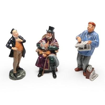 "Royal Doulton Porcelain Figurines ""The Coachman"", ""The Parisian"", ""Pecksniff"""
