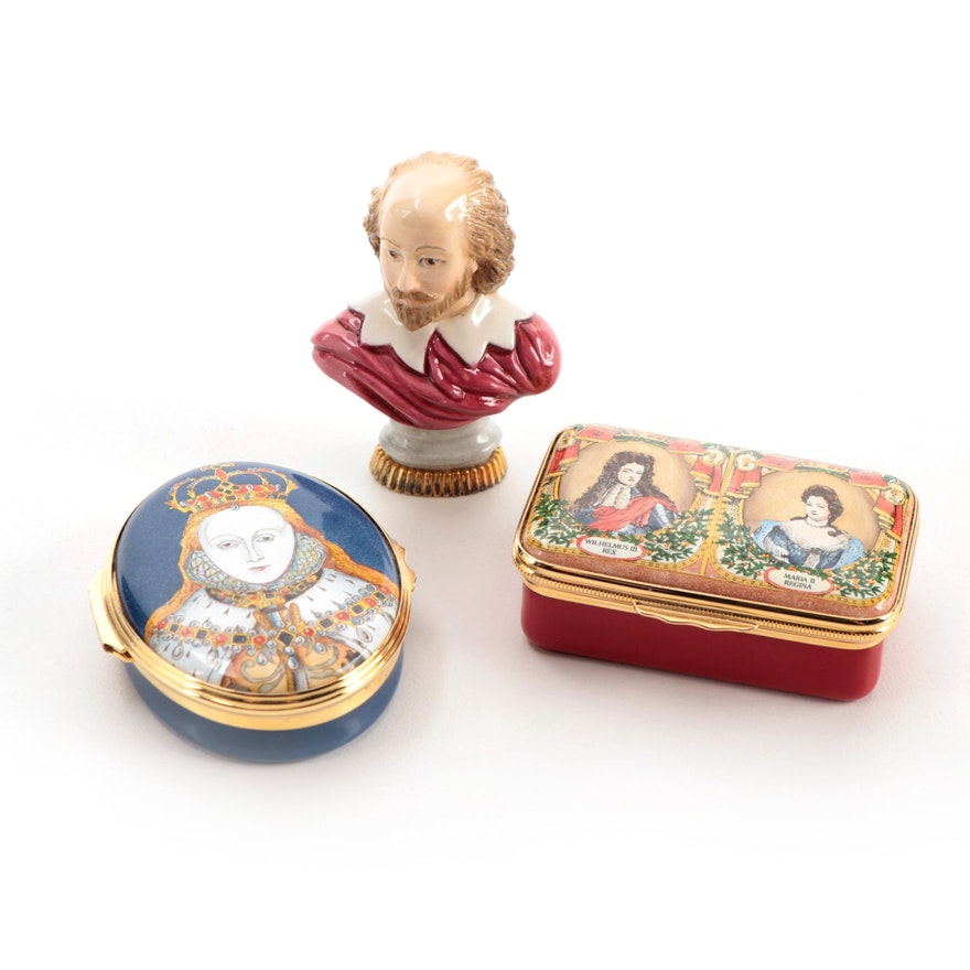 """Halcyon Days Limited Edition """"William and Mary"""" Enamel Box and More"""