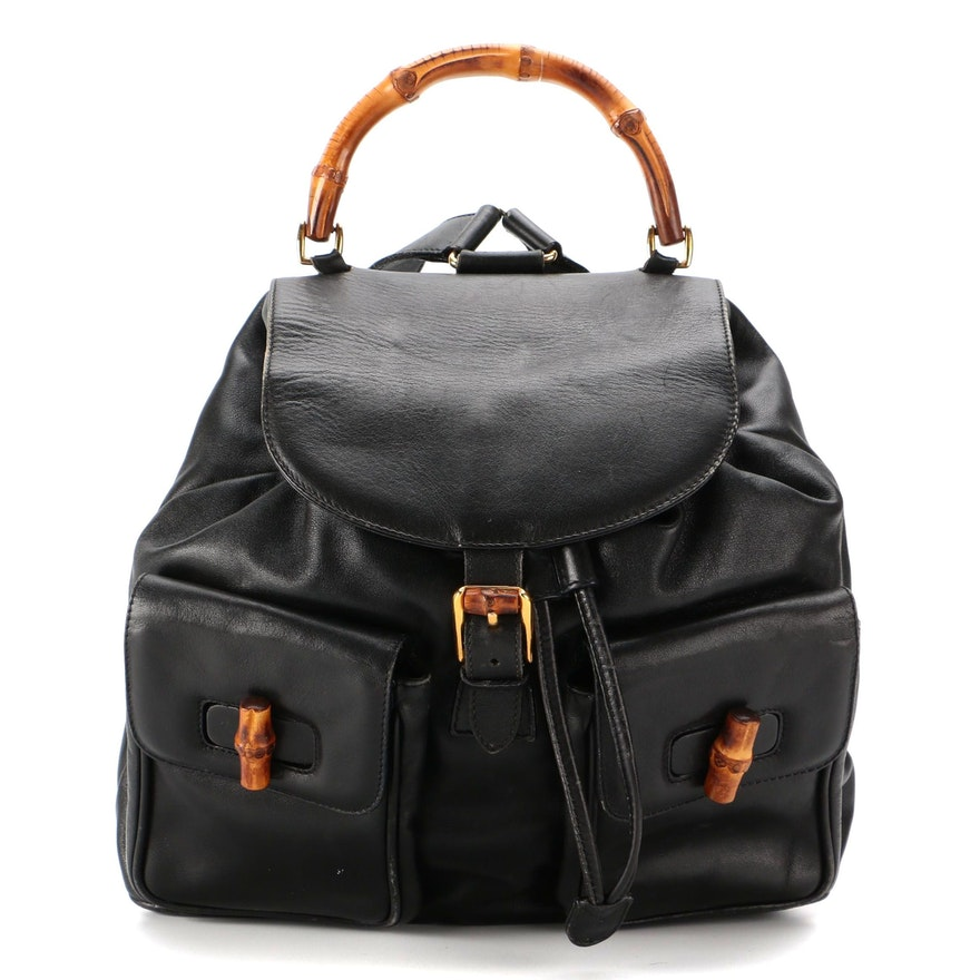 Gucci Bamboo Drawstring Backpack in Black Smooth Leather