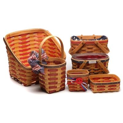 Longaberger and Royce Craft Wooden Baskets w/Americana Theme