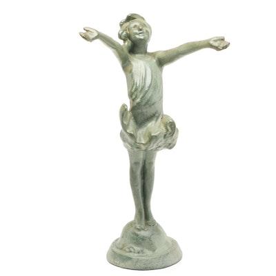 Bronze Patinated Art Deco Metal Sculpture of a Dancing Girl