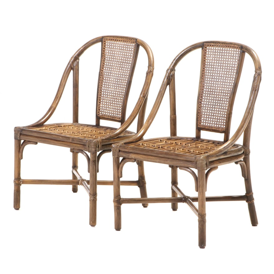 Pair of McGuire Hide-Bound Bamboo and Caned-Back Side Chairs