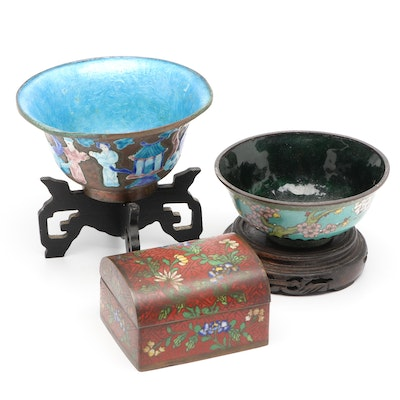 Chinese Cloisonné Bowls with Stands and Box
