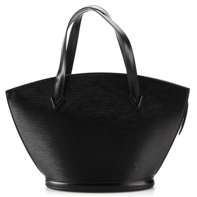 Louis Vuitton St. Jacques PM Handbag in Black Epi and Smooth Leather