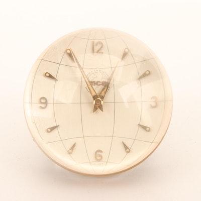 MCA Glass Globe Desk Clock, Made by Imhof, Switzerland