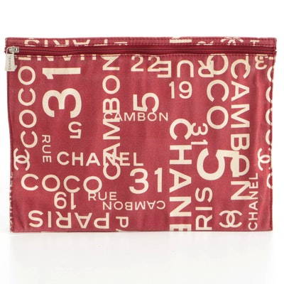 Chanel Accessory Pouch in Red and White Coco Print Canvas