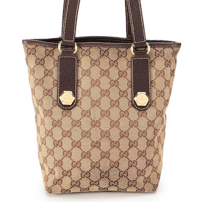 Gucci GG Canvas and Leather Shoulder Tote