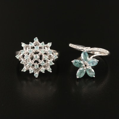 Sterling Silver Alexandrite and Zircon Rings