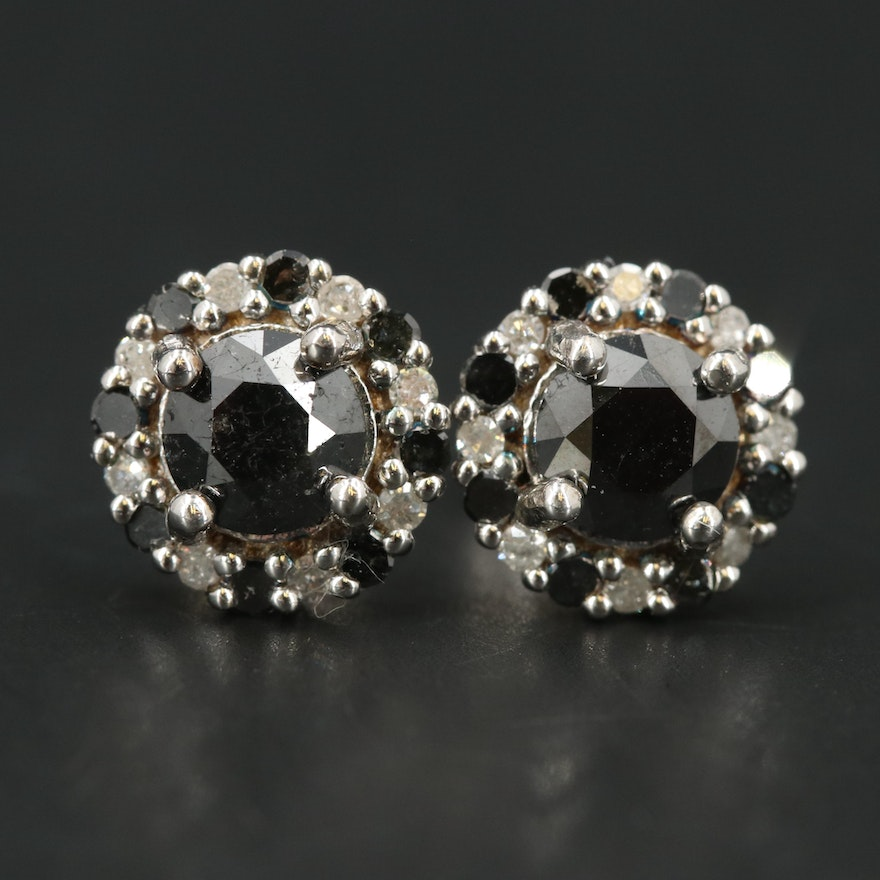 Sterling and 2.00 CTW Diamond Halo Stud Earrings