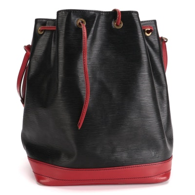 Louis Vuitton Noé Drawstring Bucket Bag in Black Epi and Red Smooth Leather