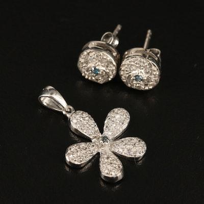 Sterling Silver Diamond and Zircon Flower Pendant with Swirl Stud Earrings