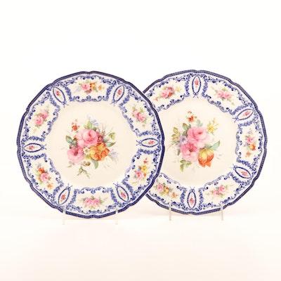 Royal Doulton Porcelain Rose Plates, Mid-20th Century